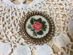 Vintage Petit Point Brooch Bronze Metal with by ProctorCreations