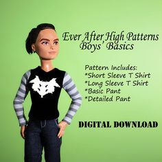 Easy Ever After High Boys' Pants and Shirt doll clothes patterns  Ask a Question $3.00 USD