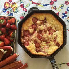 Rhubarb and Strawberry Skillet Cake