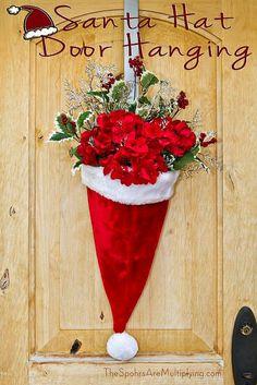 Santa Hat Wall Hanging Noel Christmas, All Things Christmas, Winter Christmas, Christmas Ornaments, Homemade Christmas, Cheap Christmas Decorations, Christmas Centerpieces, Rustic Christmas, Christmas Swags