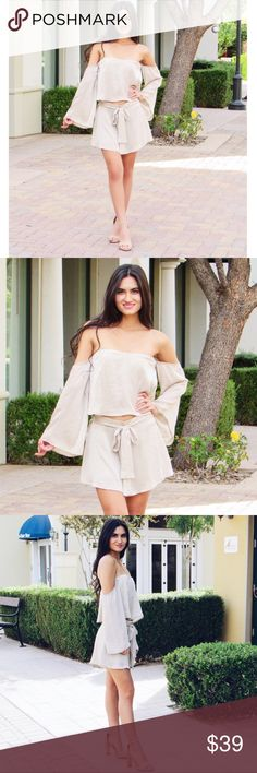 Nude Two Piece Set Nude two piece set! Perfect for spring/summer off shoulder for beautiful and warm weather with an elegant bow tied short. Size is M but can fit S. (i am small and still had lots of space wearing this) Only worn once. Material is Polyester Shorts