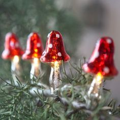 Love these Christmas lights—glass mushroom lights❣ Swedish Christmas, Woodland Christmas, Noel Christmas, Little Christmas, Vintage Christmas, Christmas Ornaments, Christmas Colors, Christmas Stuff, Christmas Lights