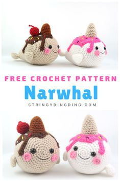 Make these really cute ice cream narwhals with this free crochet pattern from StringyDingDing! Make an adorable ice cream narwhal amigurumi with this free crochet pattern! Visit our site to make it now. Crochet Amigurumi Free Patterns, Crochet Animal Patterns, Stuffed Animal Patterns, Crochet Dolls, Knitting Patterns, Doll Patterns, Dress Patterns, Cute Crochet, Crochet Crafts