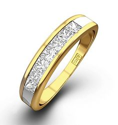 18K Gold Princess Diamond Half Eternity Ring 0.50CT H/SI - Item FT35-72JUA.  #eternityring #ring #eternity #diamondstoreuk #diamond #yellowgold #jewllery