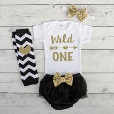 Wild One First Birthday Girl Outfit Black and Gold 1st Birthday Outfit Girl One Year Old Girls First Birthday Smash Cake Outfit by BumpAndBeyondDesigns