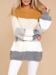 e2217edd809002 Color Block Bloomer Sleeve Fall/Winter Women Sweater Loose Knit Sweaters,  Winter Sweaters,