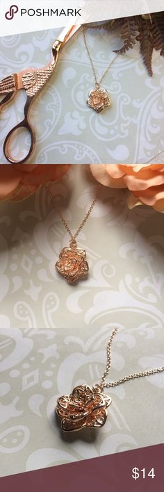 ✨NEW Listing✨Filigree rose necklace Dimensional rose necklace with filigree petals. Rose gold plated Sterling silver. Stamped 925. Jewelry Necklaces