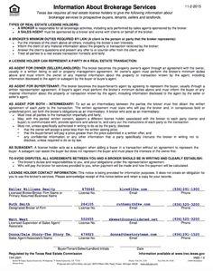 TREC Information About Brokerage Services