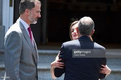 King Felipe VI of Spain (L) and Queen Letizia of Spain (C) receive Portuguese President Marcelo Rebelo de Sousa (R) at Zarzuela Palace on May 26, 2017 in Madrid, Spain.