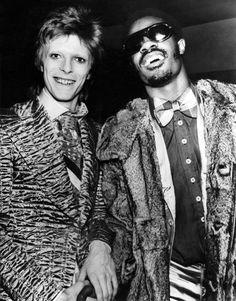 David Bowie and Stevie Wonder circa 1973