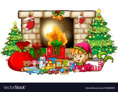 Christmas theme with elf and toys by fireplace vector image on VectorStock Christmas Clipart, Christmas Images, Christmas Elf, Christmas Themes, All Things Christmas, Xmas, Christmas Ornaments, Holiday Decor, Cricut Svg Files Free