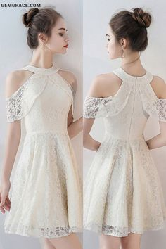 OFF, Homecoming Dresses Light Champagne Short Lace Homecoming Dress Cold Sho. - Dresses of my Dreams (all kinds) - Fall Outfit Trendy Dresses, Casual Dresses, Short Dresses, Dresses For Work, Cute Lace Dresses, Formal Dresses, Dresses Dresses, Dance Dresses, Party Dresses