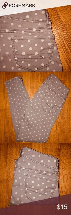 00R Women's American Eagle Outfitters Jeggings Items are at their rock bottom prices, FIRM! To receive a discount you must bundle!   CONDITION: Like New   BRAND: American Eagle Outfitters AE AEO  SIZE: 00 REGULAR   DETAILS: pastel like purple with faded distressed graphic polka dot detail all over. Zipper leg opening unique design. Stretch leggings. Regular length. Skinny. Low rise    FLAWS: N/A   #jeggings #jeans #AEO #AthensOH #forsale  #Fashion #Style #TopShopStyles #Posh #CCS…