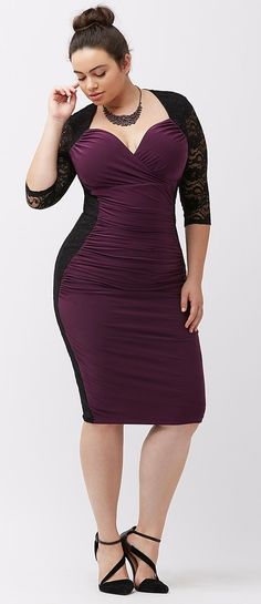 Plus Size Valentine's Day Date Dress - Plus Size Lace Illusion Dress