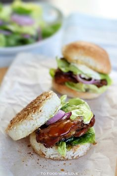 Teriyaki Chicken Rice Burgers (Sliders)