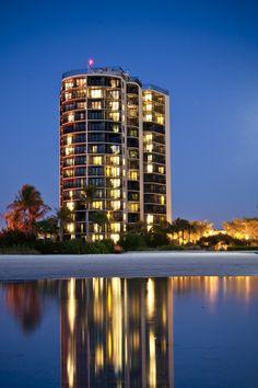Night-time Ariel View of Pointe Estero Beach Resort