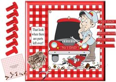 Mechanic Maybe Not Fathers DayBirthday by Jan Mason This fun kit has 6 pages.  The kit containsMain backgroundDecoupageMain tag That look when there are parts left overVarious tags in the shape of a flat head bolt  Happy Fathers Day Happy Birthday Dad Son Brother Uncle Happy Birthday.Car number plate tag for No1 Dad Super Son Brilliant Brother Special Uncle and one blank.Inserts suitable for Fathe
