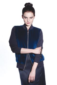 Fall 2013 Trend: Its the Bomb (LNA's cotton velvet jacket and Jen Kao's silk skirt. Maison Martin Margiela rings.)