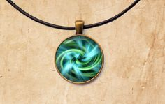 Aqua Swirl necklace Sacred Geometry jewelry by SleepyCatPendants