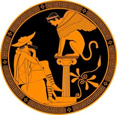 Édipo e a Esfinge. Pintura em vaso grego, 480-470 aC. BC.