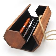 wooden hexagonal pencil case