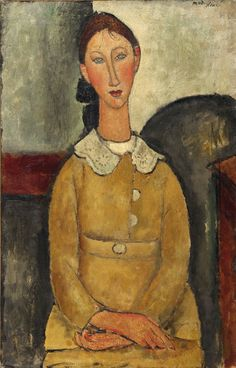 Young Woman with a White Collar, 1917