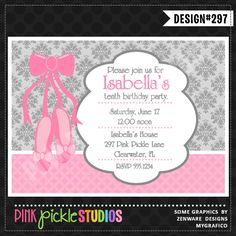 Ballet Slippers Personalized Party Invitation