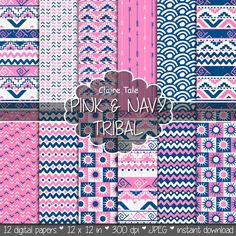 """Tribal digital paper: """"PINK & NAVY TRIBAL"""" with tribal patterns and tribal backgrounds, arrows, feathers, leaves, chevrons in navy and pink"""