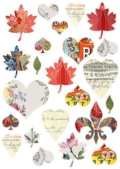 Free Printable's for DIY crafting, scrapbooking, gift tags, notes, labels, background for photos, mixed media art, collages & other DIY crafts.    Leafs & fleur delis.