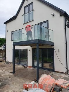 Stunning balcony to match our customers already existing balconette above. Channel system Infinity glass balustrade with stainless steel handrail, our most popular balustrade option. Stainless Steel Balustrade, Glass Balustrade, House With Balcony, Modern Balcony, Barn Loft Apartment, Outdoor Seating Areas, Outdoor Spaces, Child Safety Gates, Dormer Roof
