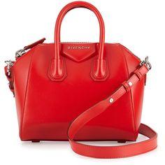 Givenchy Antigona Mini Calf Leather Satchel Bag ($1,750) ❤ liked on Polyvore featuring bags, handbags, malas, red, handle satchel, red satchel handbags, red handbags, mini satchel and satchel purse