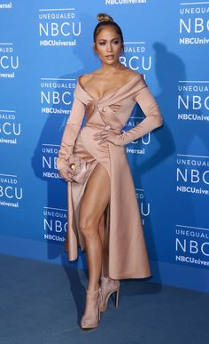 Jennifer Lopez in ELIE SAAB Haute Couture Spring Summer 2017 at the 2017 NBCUniversal Upfront in New York City.