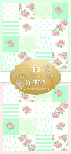 Scrapbook: Shabby Quilted 12x12 Digital Paper - Free Pretty Things For You