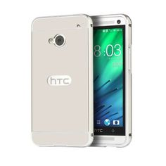 Phone Case for HTC M7 Electric Plating Aluminum Metal Frame Mirror Acrylic Back Cover Cases For HTC One M7 with 4 Colors