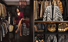 As irmãs Kardashian então sempre com roupas de grife e muuuitos sapatos Louboutin. No da Kim o que não falta são peles e muito ouro! Para ter espaço suficiente, ela transformou o quarto de hóspedes em um mega closet para as roupas; bolsas e sapatos ficam em seu próprio espaço. Dica de organização: sempre usar o mesmo tipo de cabide, pendurar vestidos de longos para curtos e agrupar jaquetas com a mesma textura.