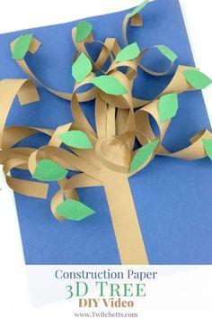 Creare queste divertenti alberi di carta 3d con i più piccoli. artigianato carta di costruzione per i bambini sono facili da configurare per un mestiere facile pomeriggio!