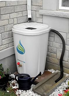 FreeGarden Rain 55 Gallon Rain Barrel w/ Brass Spigot, Beige Rain Collection System, Rain Barrel System, Rainwater Harvesting System, Water From Air, Bokashi, 55 Gallon, Pub Set, Dry Creek, Stainless Steel Mesh