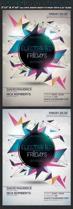 Minimalism Colourful Party Flyer Template — Photoshop PSD #minimal flyer #modern…