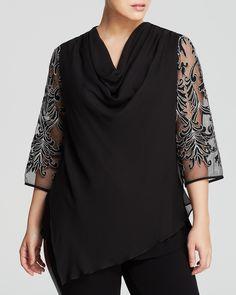 Karen Kane Plus Embroidered Sleeve Top Women - Plus - Bloomingdale s 6da67463000c