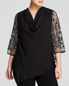 Karen Kane Black and Silver Embroidered Sleeve Holiday Top