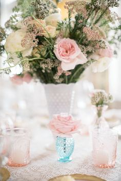 Vintage-Inspired Centerpieces | The Budding Tree https://www.theknot.com/marketplace/the-budding-tree-stow-oh-334436 | Kirkbrides Wedding Planning & Design https://www.theknot.com/marketplace/kirkbrides-wedding-planning-and-design-cleveland-oh-244025 | Mindy Sue Photography https://www.theknot.com/marketplace/mindy-sue-photography-cleveland-oh-564883