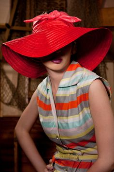 Wide brim sun hat red or natural color by alatete on Etsy, $150.00  That dress is wonderful
