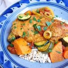 Paleo Chicken veggie tagine. - Switch up the oder of adding things to the pot a bit and add some heat (chili or cayenne) and rice.