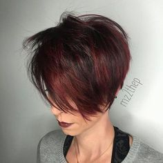 Long Shaggy Cherry Red Pixie