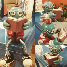 Professor Bot Bob now up for adoption: http://theawesomerobots.com Handmade by HerArtSheLoves of Robots Are Awesome