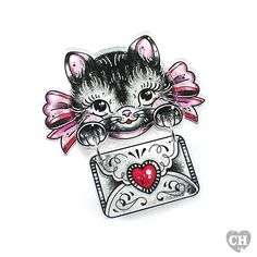 Meow meow! This sweet kitten, donned in her finest pink bow, has a love letter just for you! The decorative envelope hangs freely on jump rings from her little grey paws. The kitten and bow…