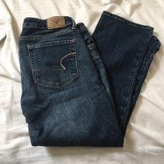 American eagle jeans They're a bit cropped, worn a good among, you can cuff the bottoms for a cool look! American Eagle Outfitters Jeans Straight Leg