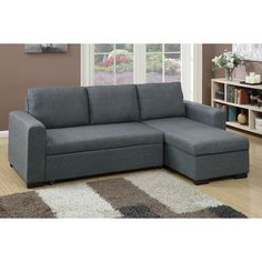 Relax, entertain, and rest on this 2-piece sectional with a simple design to fit a variety of living room styles. This unit features a modular structure covered in polyfiber with a pullout bed and a f