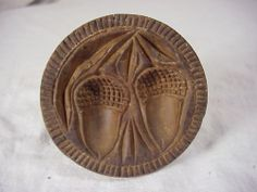3.75in across x 3in high (handle). Fab acorn carving!!!ANTIQUE CARVED WOOD BUTTERPRINT PRIMITIVE WITH 2 ACORNS Butter Molds, Carved Wood, Springerle Cookies, Sugar Mold, Acorn And Oak, Little Acorns, Churning Butter, Carving, Oak Leaves