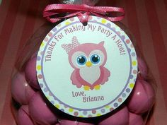 Owl Birthday Favor TagOwl Birthday Party by APartyWithPaper, $8.00